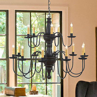 LARGE HARRISON CHANDELIER Primitive Wood & Metal 15 Candle Rustic Ceiling Light