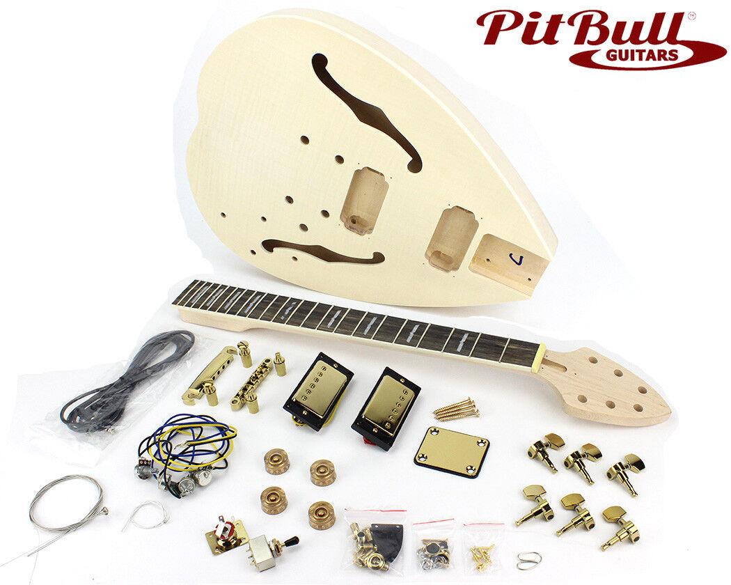 Pit Bull Guitars FTD-1E Semi-Hollow Electric Guitar Kit (Ebony Fretboard)
