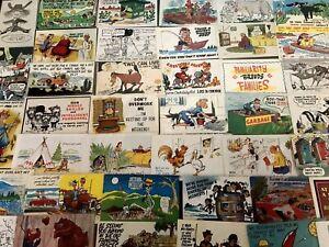 Large-Estate-Lot-of-50-Humor-Comic-Funny-Cartoon-Vintage-Postcards-Unused-b569