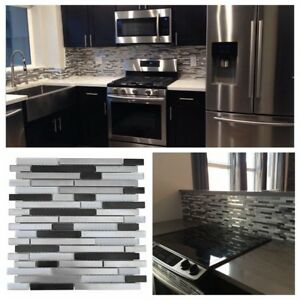 Silver Black Stainless Steel Metal Glass Mosaic Liner Tile