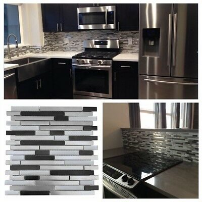 Silver Black Stainless Steel Metal Gl Mosaic Liner Tile For