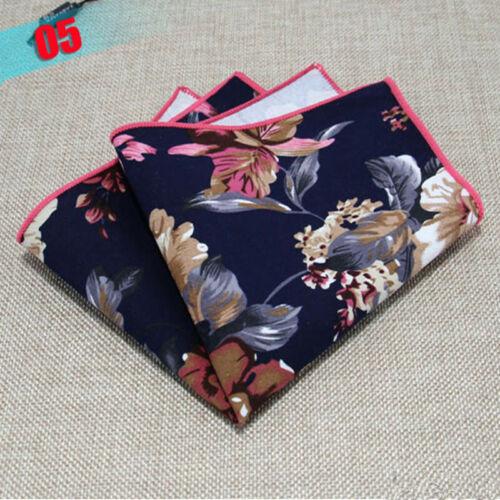 Hot Men Stylish Floral Cotton Hanky Handkerchief Suit Wedding Pocket Square