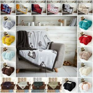 Teddy Fleece Blankets Throws Cuddly Warm Cosy Plain Checked Sofa Bed Chair Sette