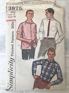 """Vintage 1950s CUT Simplicity Mens RETRO SHIRT Pattern #3875 15"""" Neck 38"""" Chest"""