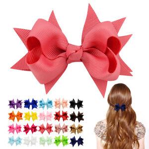 10pcs-Kids-Baby-Girls-Grosgrain-Ribbon-Boutique-Bows-Alligator-Hairpin-Clip