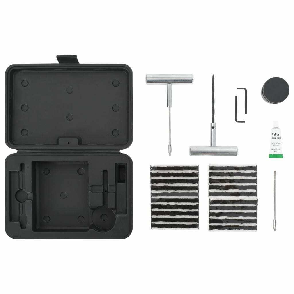 vidaXL Kit Repara Pinchazos Coche Moto 27 Piezas Reparapinchazos Repara Ruedas