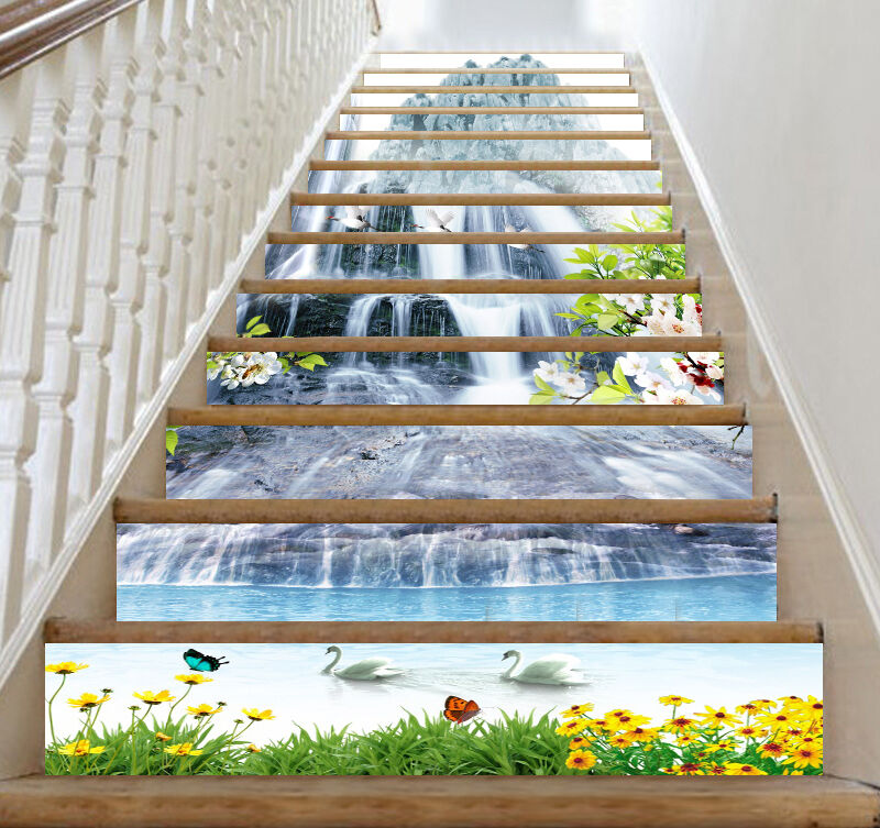 3D Swans birds lake stair Risers Decoration Photo Mural Vinyl Decal Wallpaper AU