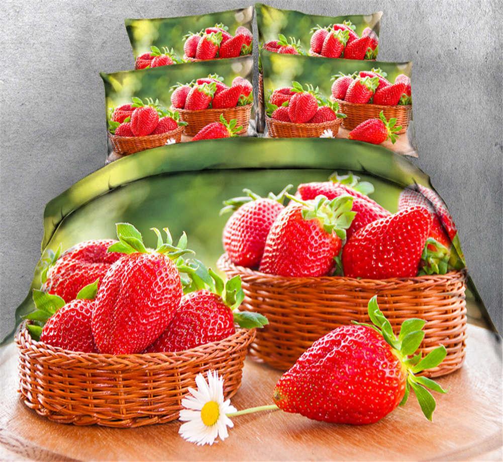 Fresh Strawberry 3D Printing Duvet Quilt Doona Covers Pillow Case Bedding Sets