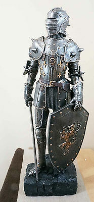 """HEAVY ARMOR MEDIEVAL KNIGHT SWORD AND SHIELD FIGURINE WITH BASE LARGE 29"""" TALL"""
