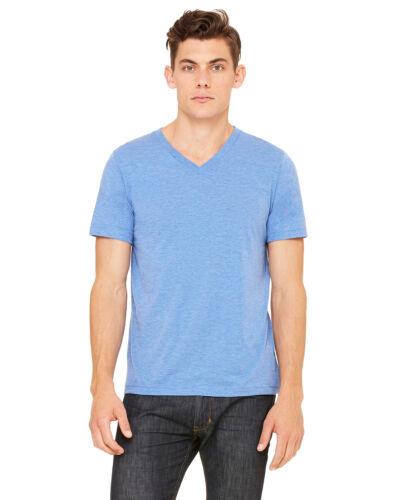 Bella Canvas Mens Triblend V-Neck Short Sleeve Shirt retail fit Tee 3415