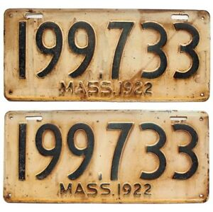 Garage Sign Drip-Dry Forceful Massachusetts 1922 License Plate Pair Prohibition-era Antique