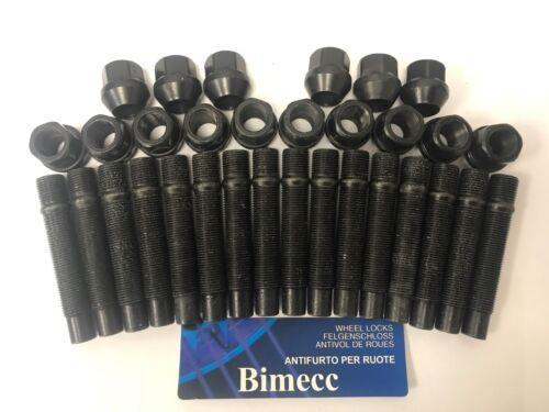 NUT CONVERSION X 16 BLACK 68mm M14X1.25 FOR MINI R55 R56 R57 ALLOY WHEEL STUDS