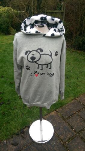 sweat empreinte de à shirt Sweats gris patte chien Nelsonashby capuche J'aime mon wy4U64qEB