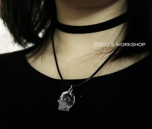 Layered skull choker 3d crystal skull choker pendant necklace goth image is loading layered skull choker 3d crystal skull choker pendant mozeypictures Images