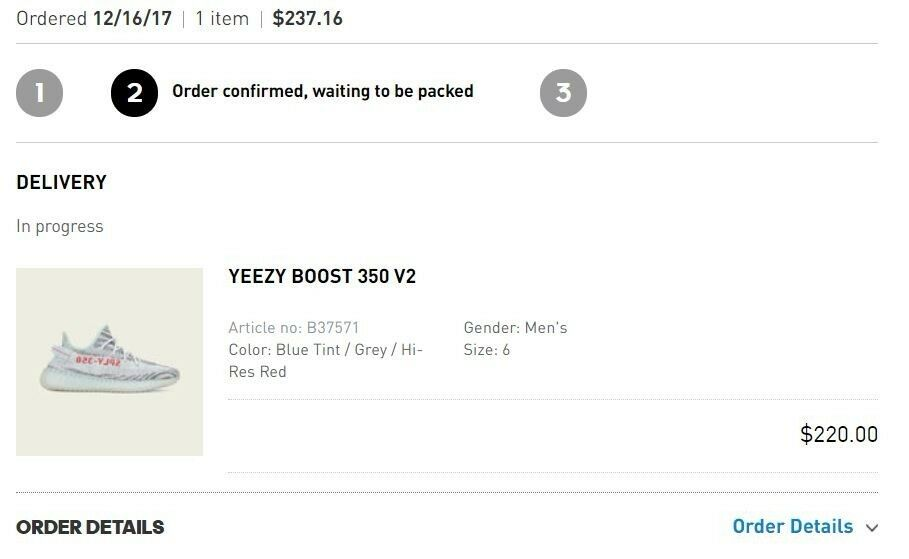 Yeezy boost 350 v2 bluee Tint Size 6 Confirmed Order