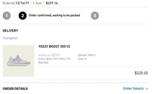 Details about yeezy boost 350 v2 Blue Tint Size 6 Confirmed Order