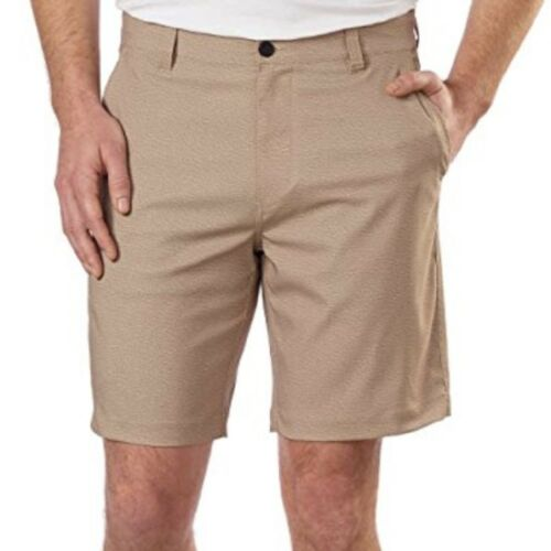Men/'s Flex Waist Stretch Woven Shorts Khaki Twill Hawke /& Co
