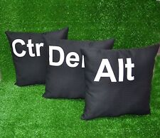 set of 3 Ctrl Alt Del Computer key cushion black pillow Felt appliqued letters