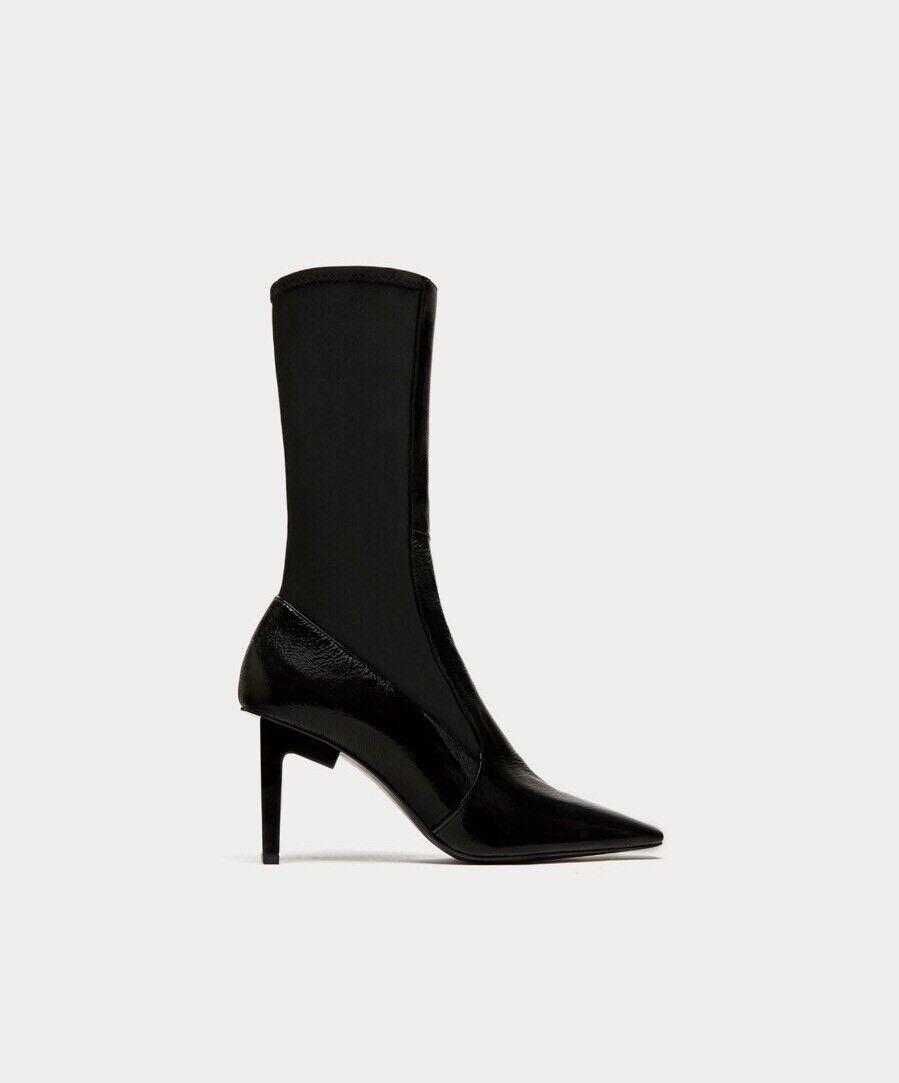 Zara Nuevo Cuadrado Con Puntera Puntera Puntera Tacón Alto botas al Tobillo Talla 6.5 EUR 37 Nuevo con etiquetas  Garantía 100% de ajuste