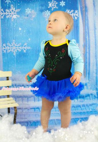 Rhinestone Princess Anna Black Bodysuit Blue Skirt Baby Dress Costume NB-18Month