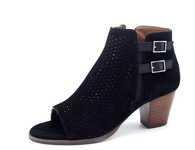 Vionic Orthotic Aloft Chryssa Peep Toe Ankle Boot w  FMT Technology Black UK 4