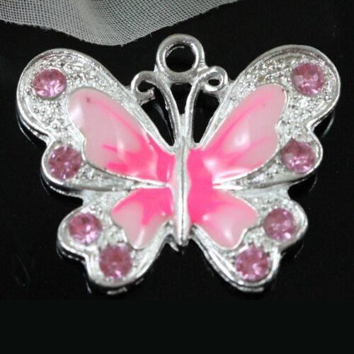 Animal Multicolor esmalte mariposa encantos Colgante Collar Joyería Manualidades Hágalo usted mismo