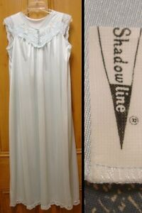 Shadowline Long Blue Nightgown Gown / Top - Embroidered & Lace  /  Small / EUC