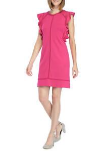 Kaari-Blue-Ruffle-Sleeve-Knit-Dress-Fuchsia-Size-M-FREE-SHIPPING