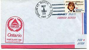 Ffc 1984 First Flight Delta Air Lines Ontario Dallas Ft. Worth Texas Us Postal