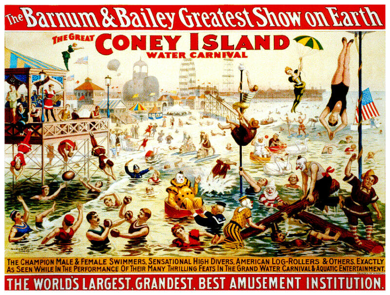 Vintage Circus POSTER.Style Graphic.Barnum Coney island. interior Art Decor.565