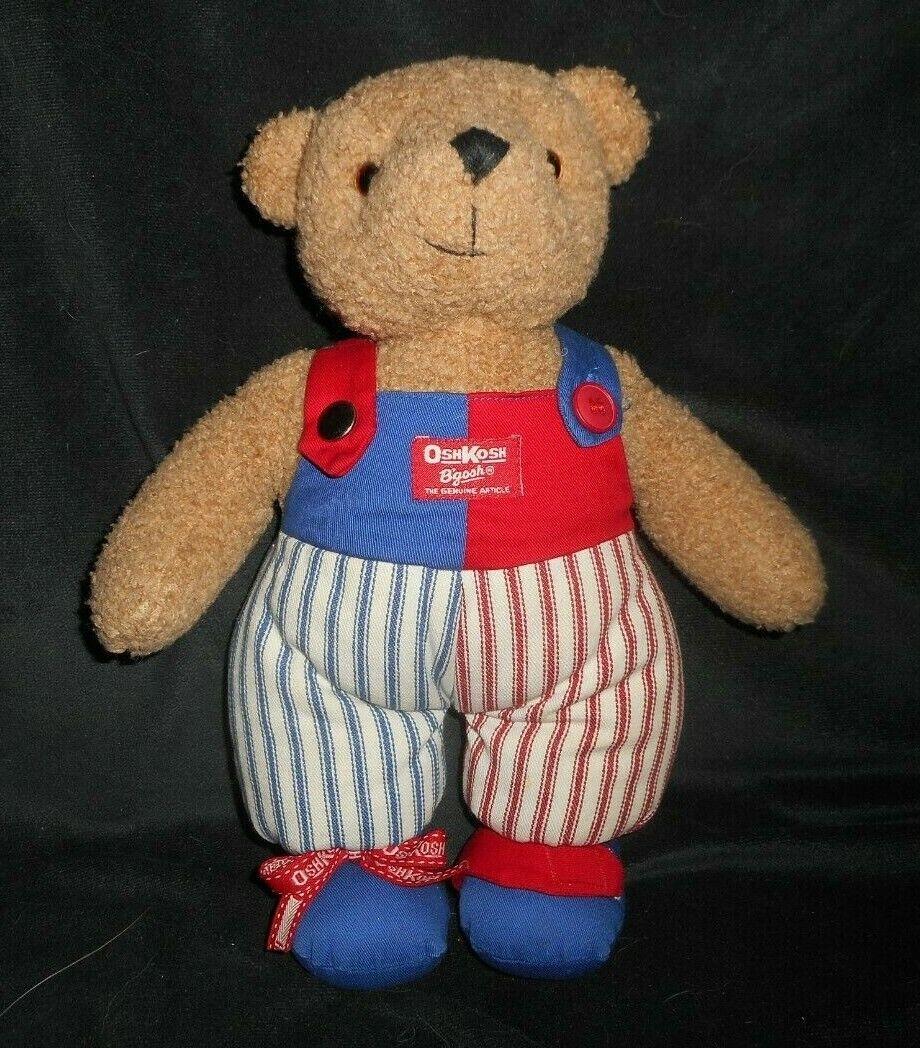 VINTAGE EDEN OSHKOSH B'GOSH BABY TEDDY BEAR TIE BUTTON STUFFED ANIMAL PLUSH TOY