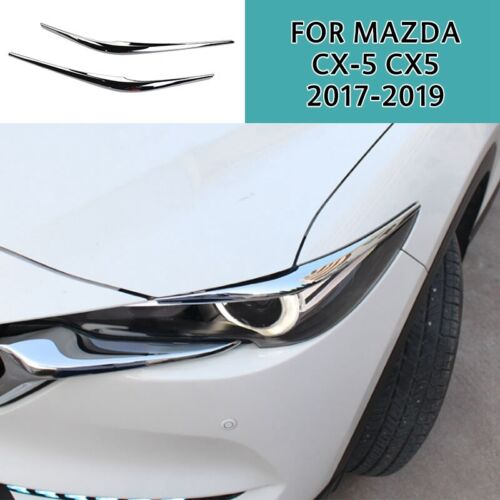 For Mazda CX5 CX-5 2017-2019 Chrome Front Eyelids Eyebrows Headlight Cover trim