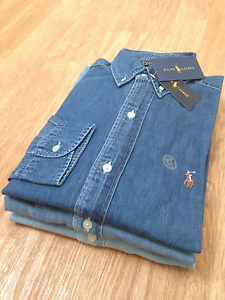 Polo-Ralph-Lauren-Hombre-Denim-Cambray-Calce-Ajustado-Camisa-Top-de-Oxford-S-M-L-XL