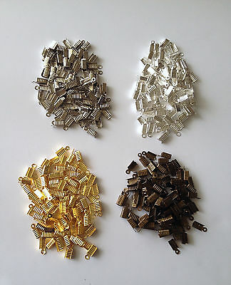400 pcs Jewelry Findings Leather Glue Barrel Brass Cord Ends Crimp Caps Beads 6E