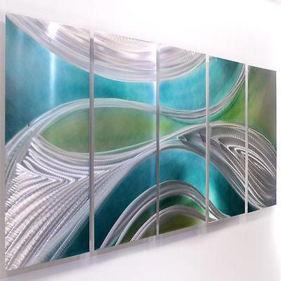 Contemporary Aqua/Green/Silver Metal Wall Art Sculpture - Mystic by Jon Allen
