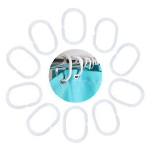 12pcs Shower Curtain Hooks C-shape Oval Shaped Hooks Bathroom Curtain Hanger