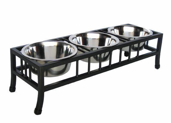 Baron Pet Diner Elevated 3 Bowl Raised Dog Feeder