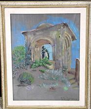 """Gemälde Pastell """"Villa Cimbrone Tempietto"""" 1988, GRÄFIN ELISABETH VON CASTELL"""