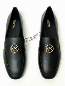 Women-MK-Michael-Kors-Heather-Flat-Loafer-Moccasins-Slip-On-Shoes-Leather-Black
