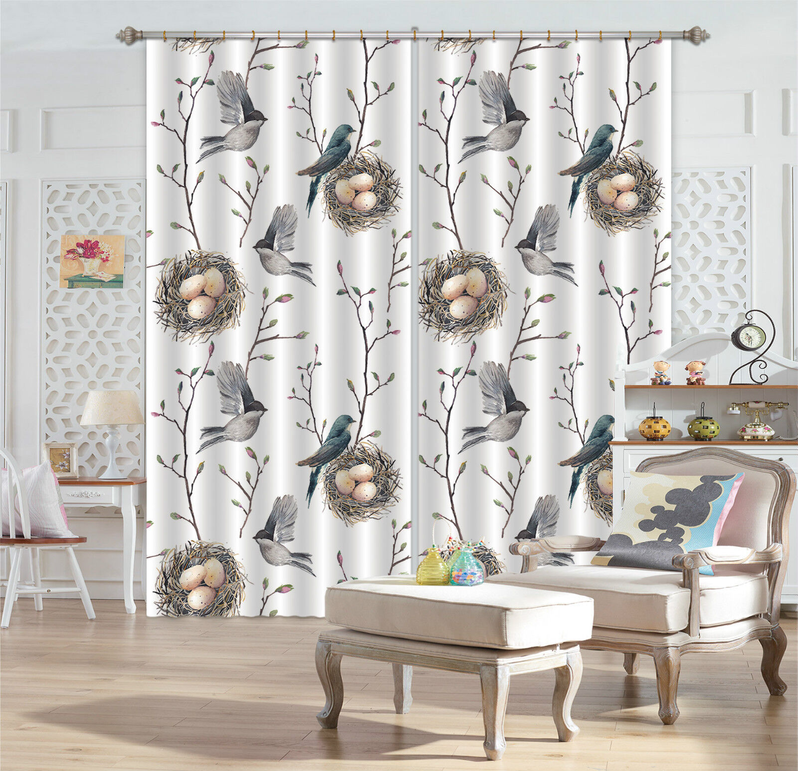 3D Birds Eggs 9 Blockout Photo Curtain Printing Curtains Drapes Fabric Window CA