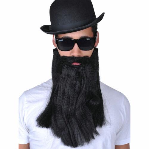 Black Long Beard and Moustache Bikie Hipster Jew Costume Accessory