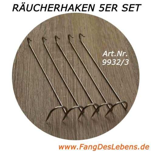 Stahl 5er Set Räucherhaken gebogene Form für große und schwere Fische rostfrei