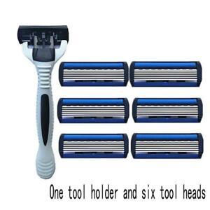 6-Schicht-Rasierklinge-1-STUCK-Rasierer-Rahmen-Rasierklinge-Refill-Ersatzwerkzeu