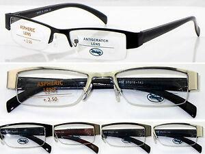 074ece3c706 L402 Superb Semi-Rimless Metal Smart Reading Glasses Aspheric Lenses ...