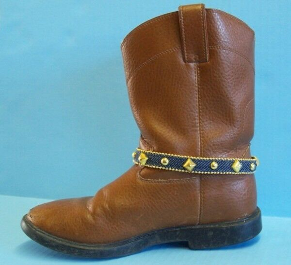 DENIM & GOLD tone STUD BOOT JEWELRY ANKLET wear as WRAP BRACELET too! NEW