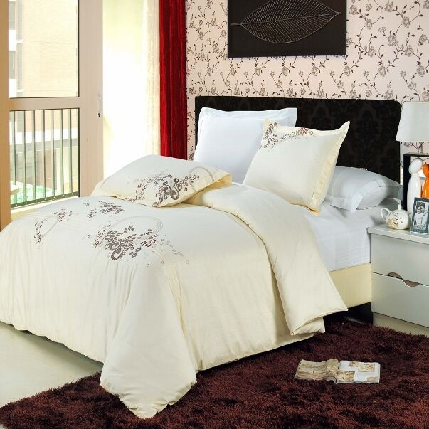 3pc Ivory Mauve Taupe Embroidered 300TC Egyptian Cotton Duvet Set Full Queen
