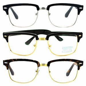 8c1287dfb2 Mens Luxury Designer Half Horned Rim Hipster Nerdy Clear Lens Eye ...