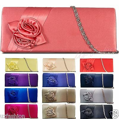 NEW SATIN FLORAL WEDDING LADIES PARTY PROM EVENING CLUTCH BAG HANDBAG