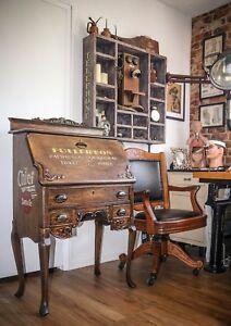 Details About Antique 1900 S Secretary Writing Desk Wooden Train Railroad Station Vintage