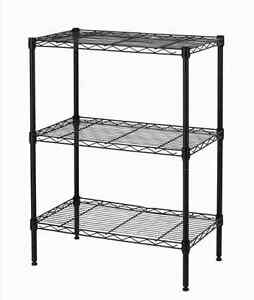 New-Wire-Shelving-Cart-Unit-3-Shelves-Shelf-Rack-Black-T53-Layer-Tier